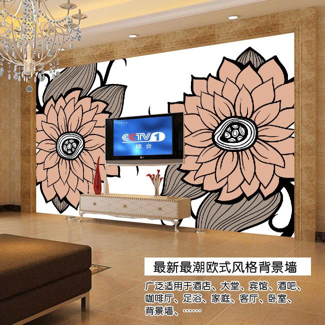 手绘菊花欧式电视背景墙