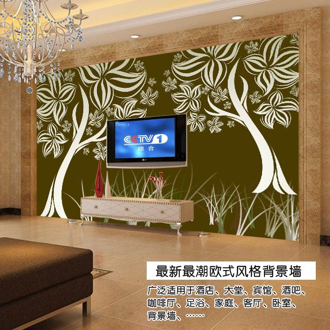 手绘情侣树欧式电视背景墙