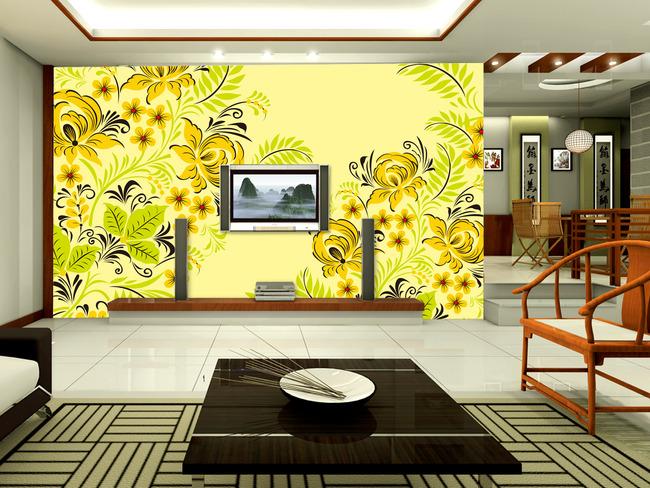 创意手绘花纹电视背景墙装饰画