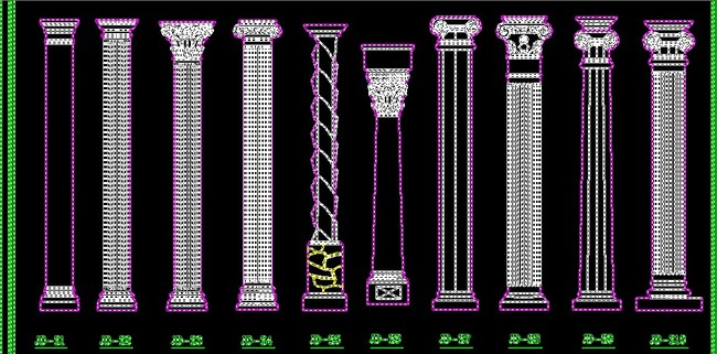 齐全的室内欧式壁炉罗马柱浮雕cad图库
