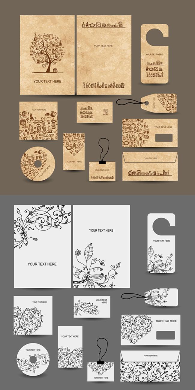 平面设计 其他 礼品|包装|手提袋设计模板 > 矢量手绘花纹vi  下一张&