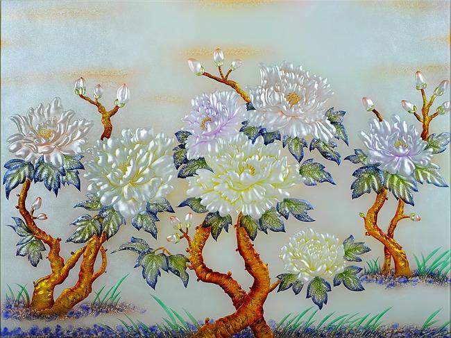 背景墙|装饰画 电视背景墙 彩雕电视背景墙 > 仿彩雕牡丹树  中国最大