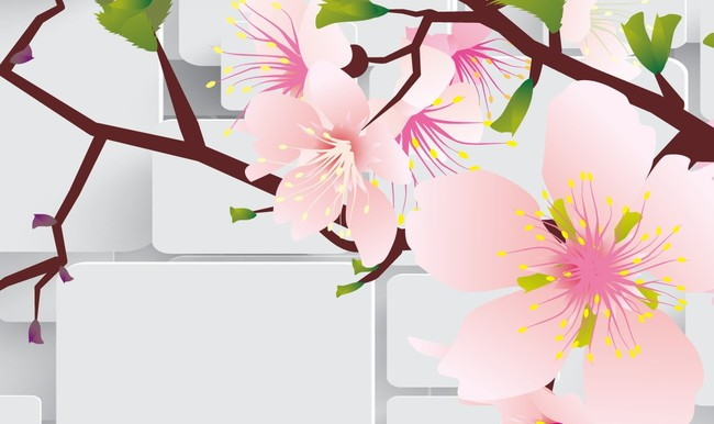 3d壁画梅花花瓣