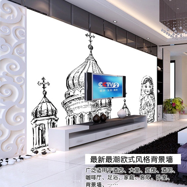 背景墙|装饰画 电视背景墙 欧式电视背景墙 > 手绘城堡与女孩欧式电视