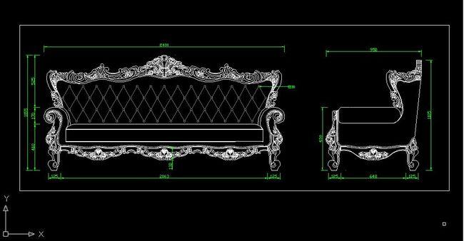 沙发素描结构图
