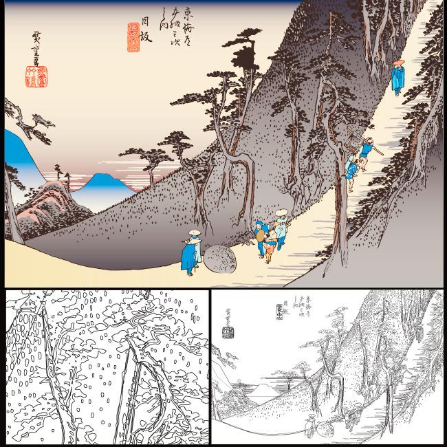 日式典雅山水装饰画