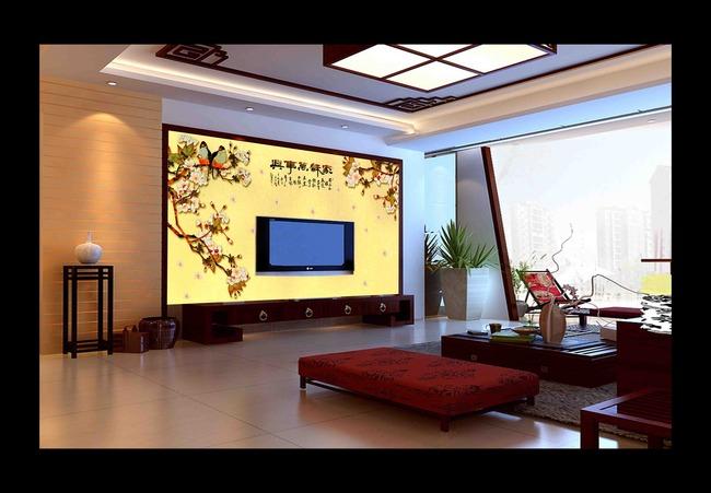 背景墙 电视 装饰/花开富贵牡丹中国风电视背景墙装饰画图