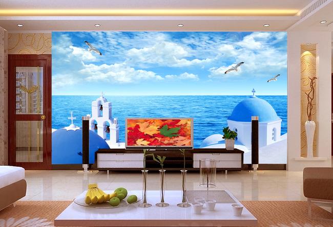 希腊爱琴海美景电视背景墙装饰画