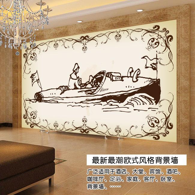 欧式手绘古代轮船电视背景墙