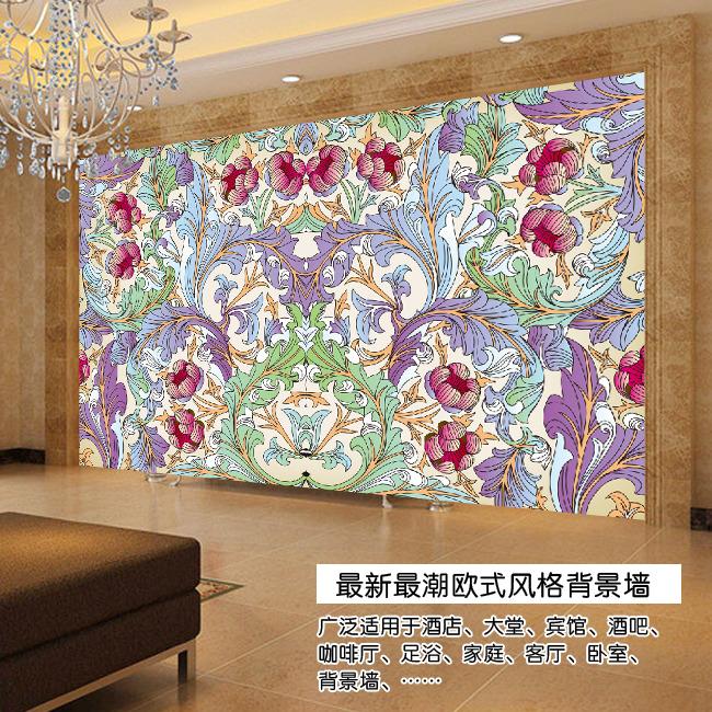欧式手绘花朵电视背景墙