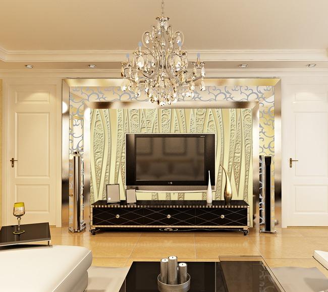 欧式金色立体浮雕电视背景墙