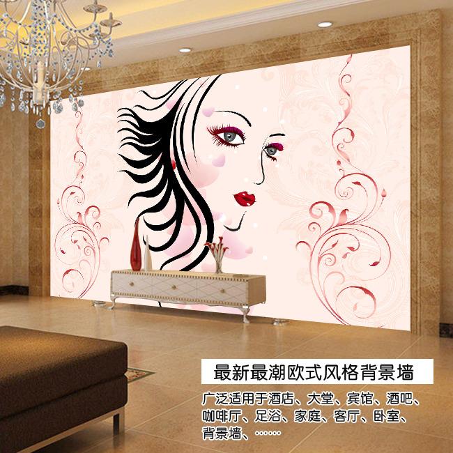 手绘美女欧式电视背景墙