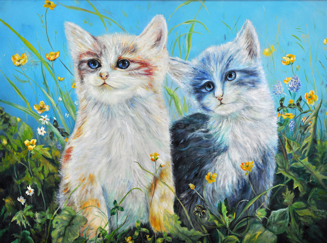 猫咪 抽象画 装饰画 无框画 油画 丙烯画 水移画 小草 插画 风景 动物