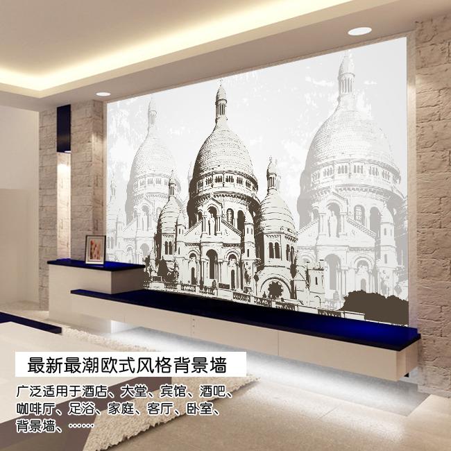 欧式古典建筑电视背景墙图片