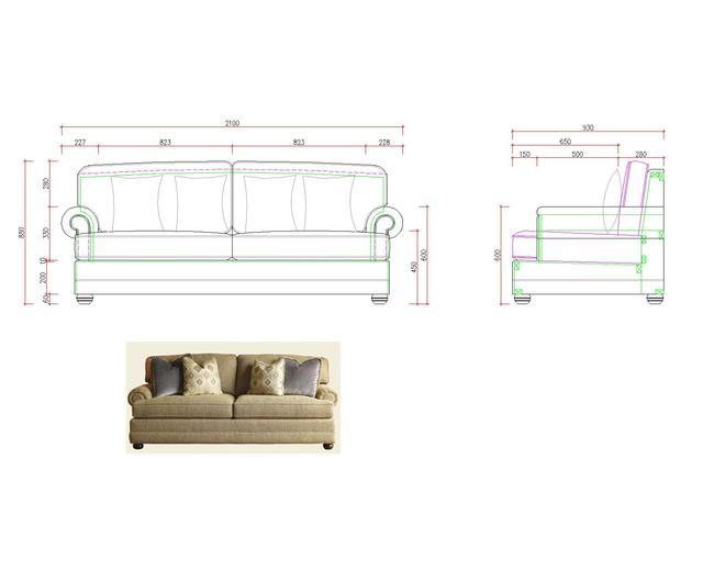 家具手绘三视图设计图展示