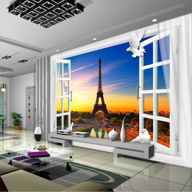 3d窗户窗子埃菲尔铁塔电视背景墙