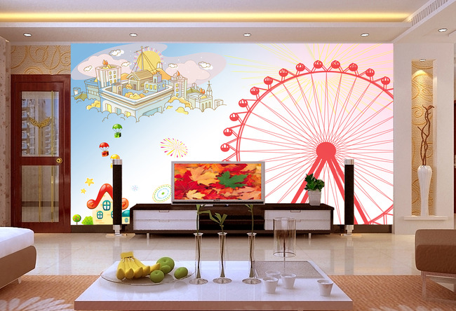 背景墙|装饰画 电视背景墙 手绘电视背景墙 > 摩天轮卡通电视背景墙装
