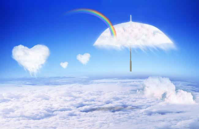心形云彩背景设计素材图片