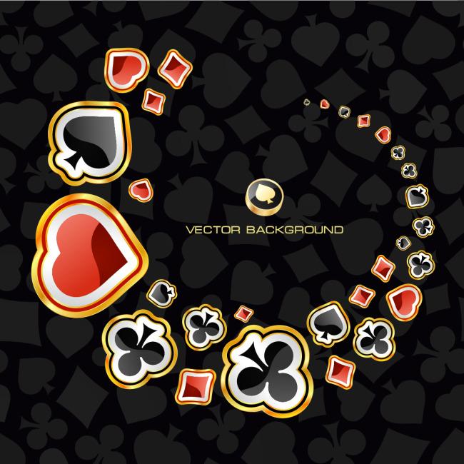 黑色背景扑克牌花纹底纹模板下载 11497288