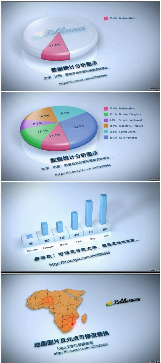3d数据统计分析百分比增长图示ae模板