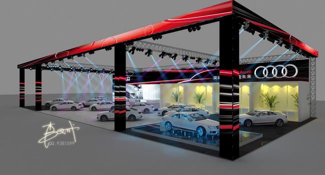 展厅3d模型 > 奥迪车展展台舞台美设计效果图