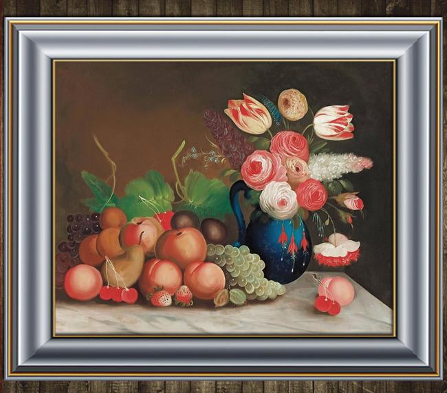 鲜花与水果写实静物油画模板下载 11505701 油画 背景墙