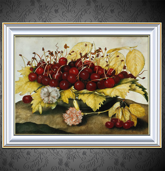 鲜花与水果写实静物油画模板下载 11505708 油画 背景墙