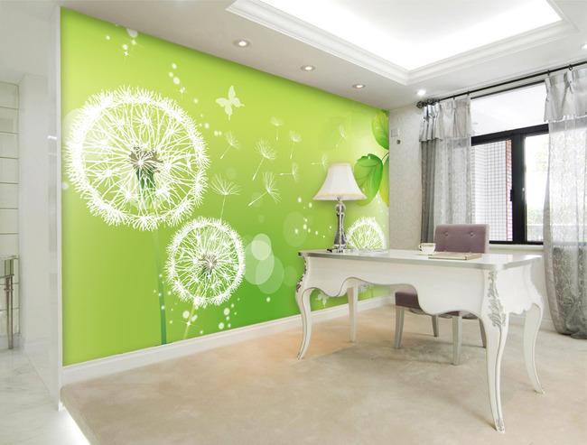 背景墙|装饰画 电视背景墙 手绘电视背景墙 > 蒲公英绿色电视背景墙
