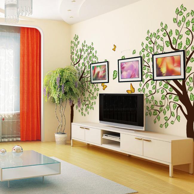 卧室背景墙设计 树木蝴蝶墙贴设计 客厅墙纸设计 手绘设计手绘pop海报