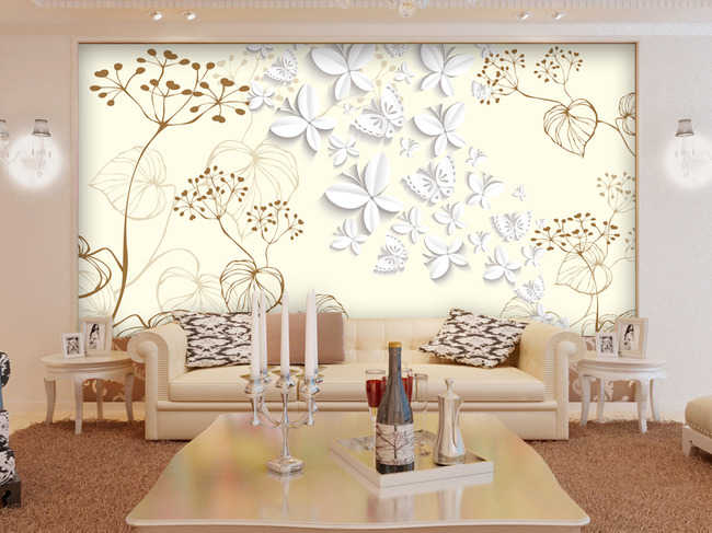 蝴蝶折纸阴影韭菜花3d电视背景墙