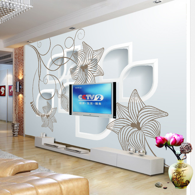 3d立体手绘五星花电视背景墙装饰画