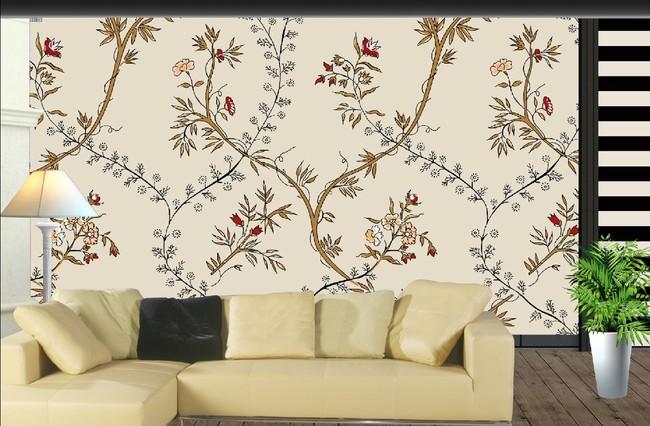 客厅欧式花纹电视背景墙图片