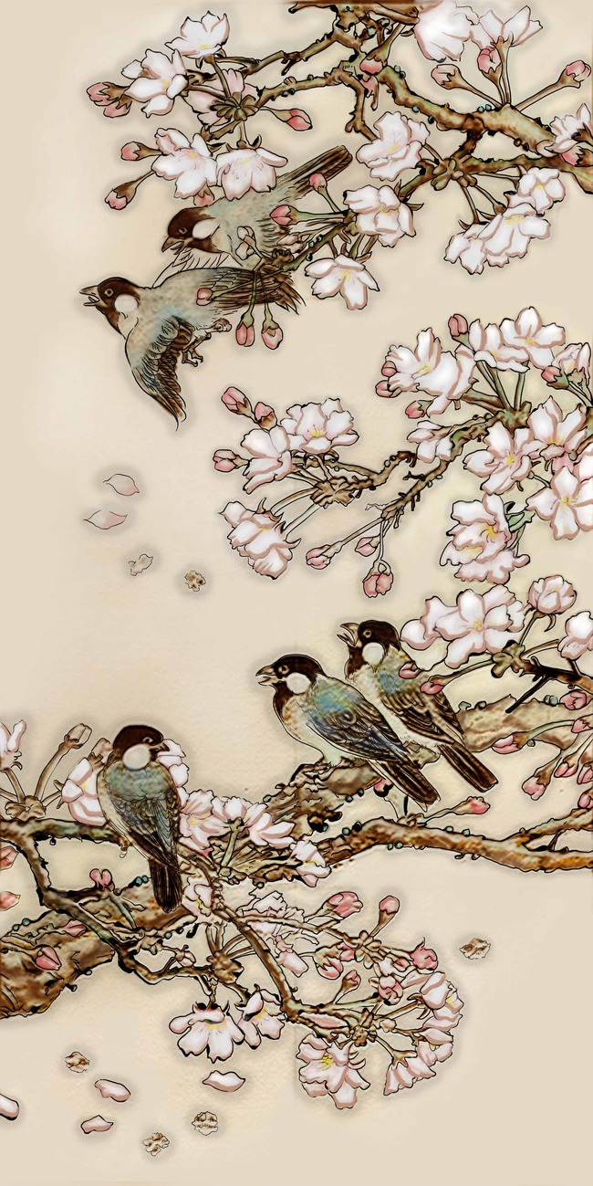 高清手绘室内背景墙梅花鸟