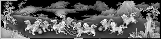 浮雕灰度图麒麟模板下载(图片编号:11531388)