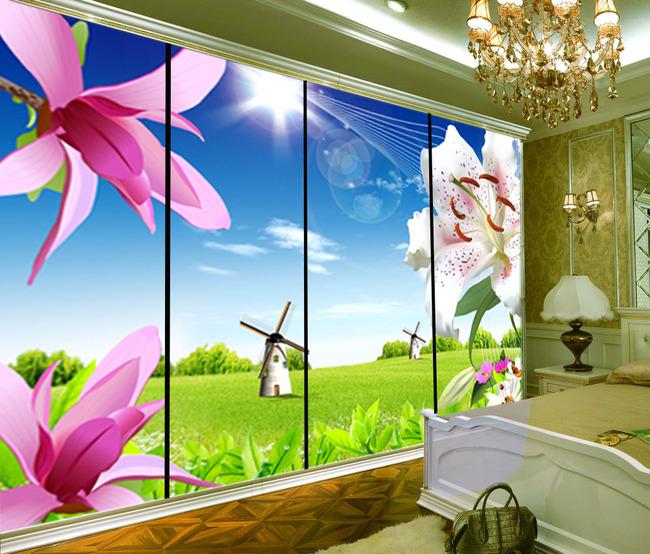 梦幻花卉风景电视背景墙壁画移门
