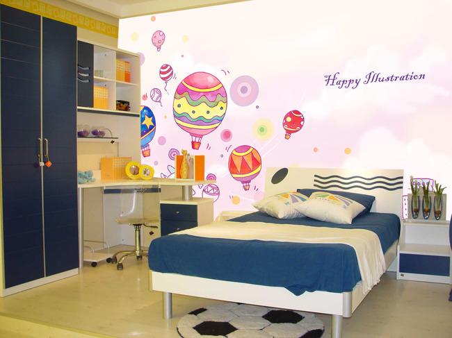 梦幻卡通热气球儿童房背景壁画