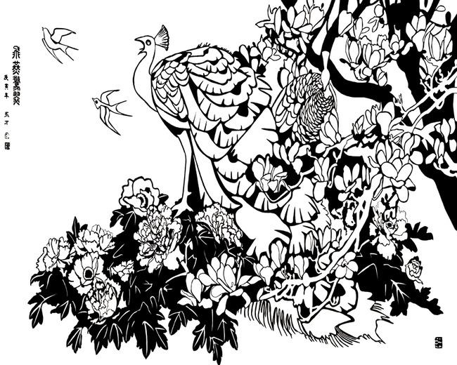黑白色手绘图孔雀