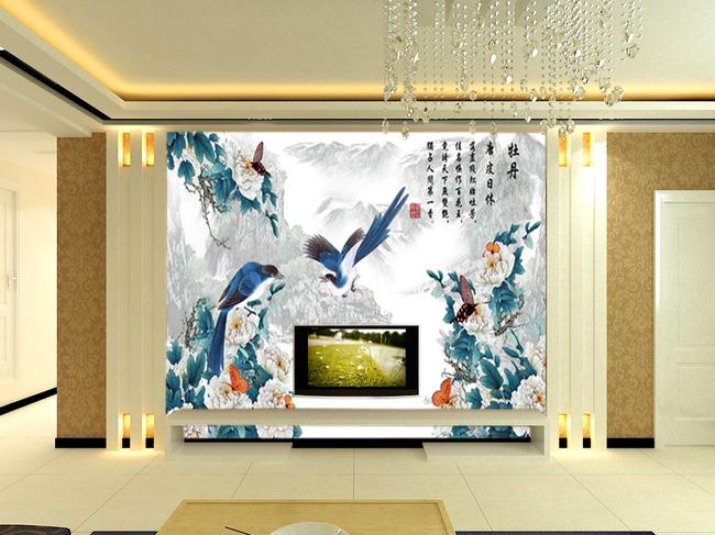 背景墙|装饰画 电视背景墙 手绘电视背景墙 > 国画山水牡丹花鸟电视