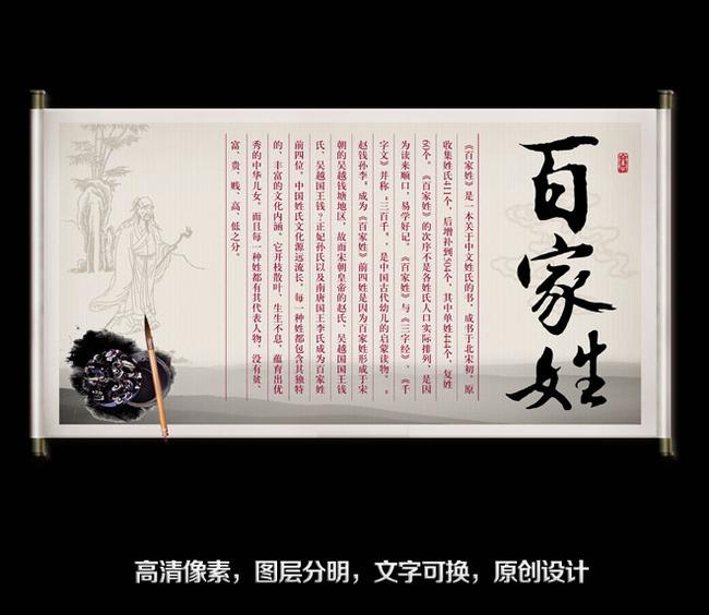 古风 老人 水墨 笔 卷轴 画卷 百家 书法 行书 毛笔 校园文化 艺术