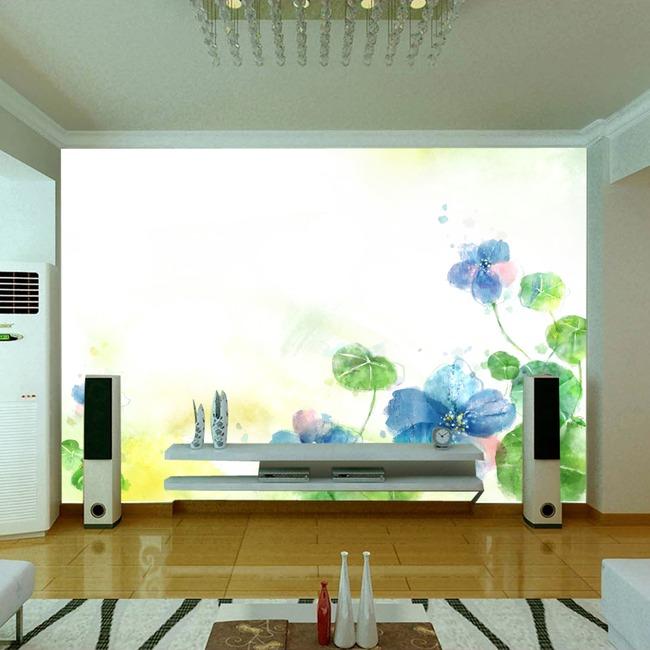 手绘荷花电视背景墙装饰画