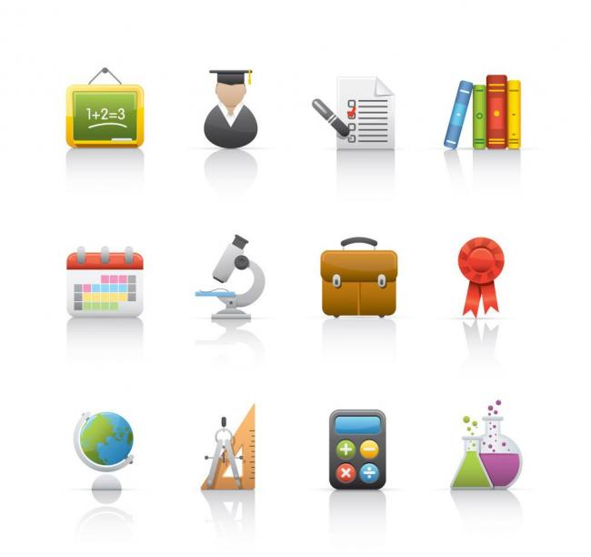 图标 网页/学校学生用品网页图标矢量图片