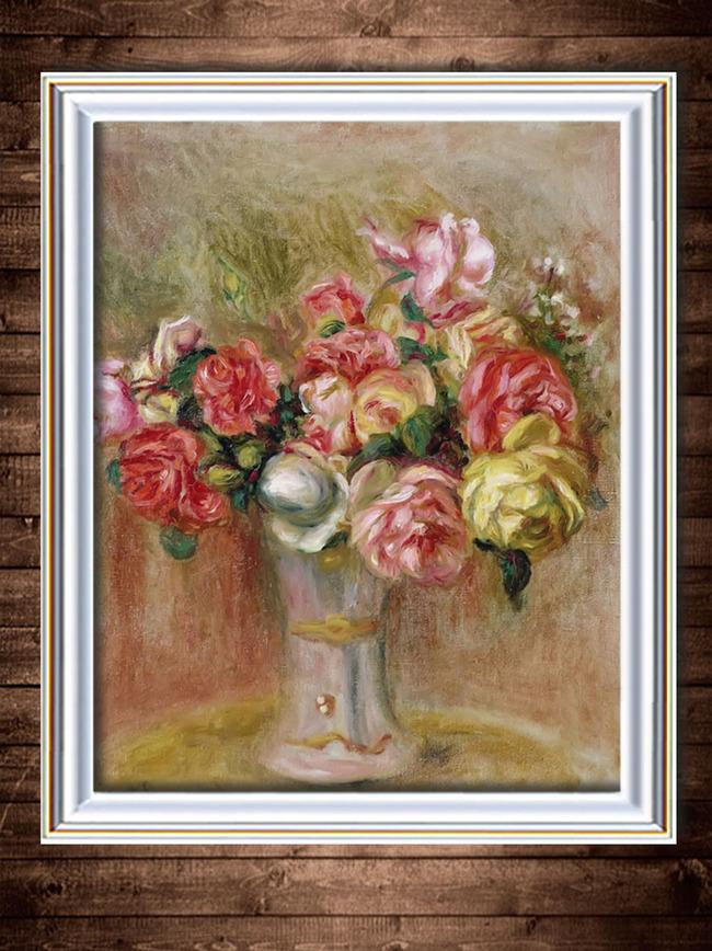 瓶中鲜花写实主义油画 油画装饰画 装饰画 花卉油画 静物油画装饰画