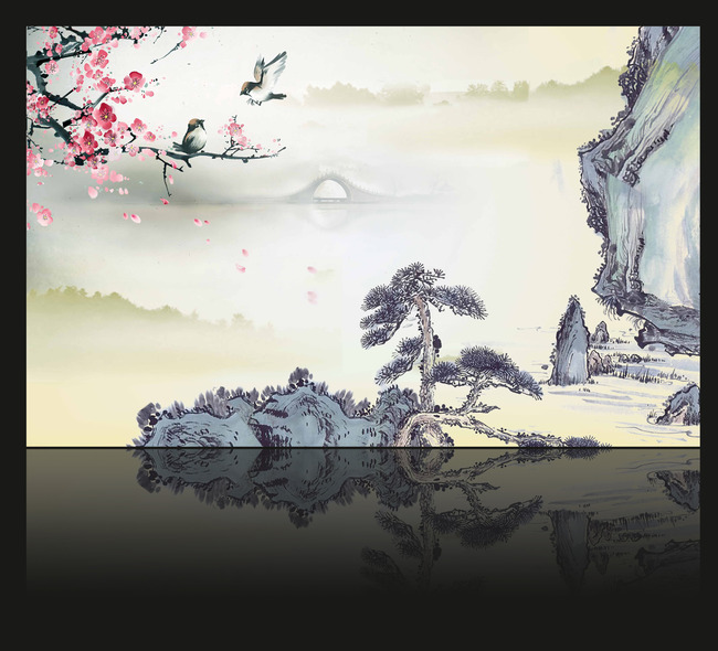 中式风格电视背景墙装饰画图片