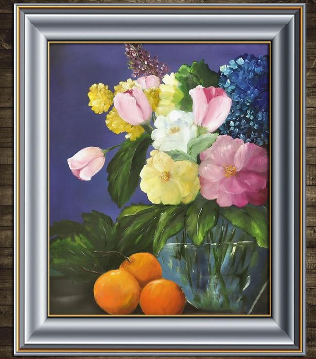 美丽的鲜花水果写实静物油画模板下载 11564030 油画 装饰画 背景墙
