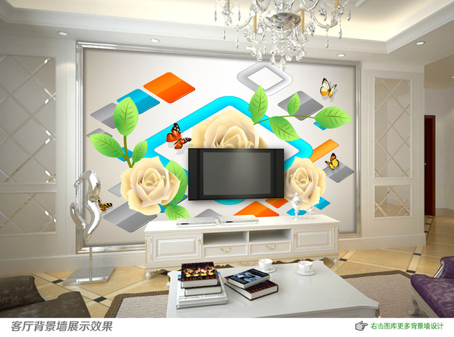 立体方块创意玫瑰客厅电视背景墙