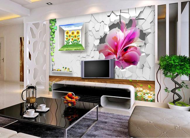 立体创意风景画电视背景墙装饰画