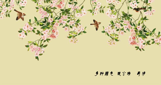 宽幅高清手绘花鸟电视背景墙壁画