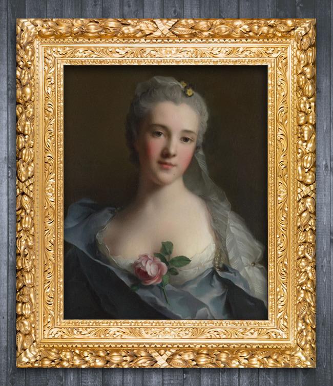 戴花的少女古典主义人物油画