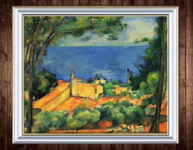水边的城堡后现代风格风景油画