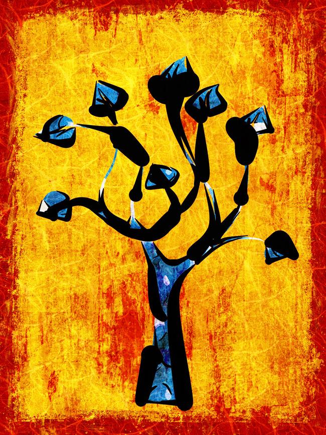 复古艺术画-发财树